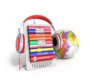 E-book with globe audio learning languages 3d render Royalty Free Stock Images