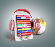 E-book with globe audio learning languages 3d render on grey gra Stock Photos