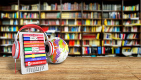 E-book with globe audio learning languages library background 3d Royalty Free Stock Image