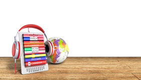 E-book with globe audio learning languages wood background 3d re Stock Image