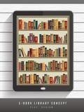 E-book library concept in flat design Stock Photos