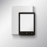 E-book lying on top of book. Illustration with Stock Photos