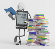 E-Book man. The fictional character is standing next to stacks of books and reading stock illustration