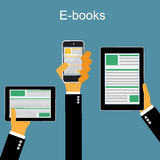 E-book. Mobile devices technology concept. Online reading and. Mobile devices technology concept. Royalty Free Stock Image