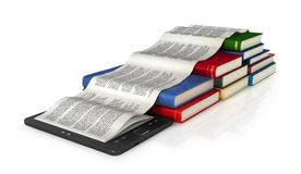 E-book, pages and books on the white background, 3d i. Llustration Royalty Free Stock Image
