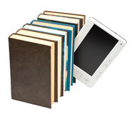 E-book and paper book Stock Image