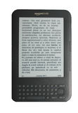 E-Book Reader Amazon Kindle 3. The new Kindle 3 with a text on the screen Stock Photo