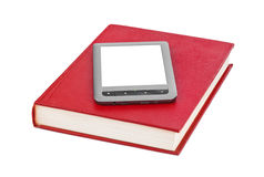 E-book reader and book Stock Photo
