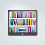 E-book reader with book shelf. Royalty Free Stock Photography