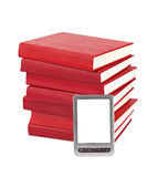 E-book reader and books Royalty Free Stock Image