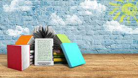 E-book reader Books and tablet breeck background 3d illustration Royalty Free Stock Images