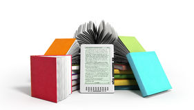 E-book reader Books and tablet 3d render image on white. Image Stock Image