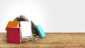 E-book reader Books and tablet 3d render om wood flor Success kn Royalty Free Stock Photography