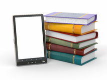 E-book reader. Books and tablet pc. 3d Stock Photography