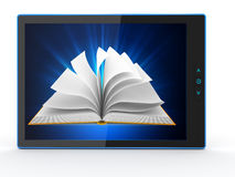 E-book reader. Books and tablet pc. 3d Royalty Free Stock Photos