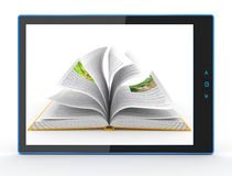 E-book reader. Books and tablet pc. 3d Stock Photo