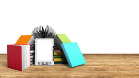 E-book reader Books and tablet on wood 3d illustration Success k Stock Photo