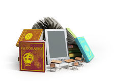E-book reader Books and tablet on wood 3d illustration Success k Stock Image