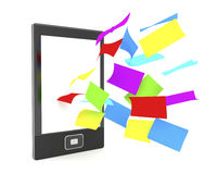 E-book reader with colorful papers Stock Photography