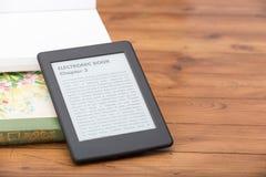 E-book reader with copy space Royalty Free Stock Photos