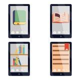 E-book reader e-reader Flat icons and symbols Set Vector Illustration. E-book reader e-reader Flat icons symbols Set Vector Illustration Stock Photography