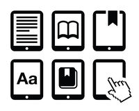 E-book reader, e-reader  icons set Royalty Free Stock Photo