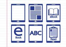 E-book reader  and e-reader icons set Stock Photography