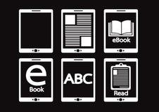 E-book reader  and e-reader icons set Royalty Free Stock Photo