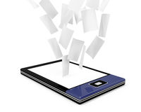 E-book reader with many documents. (papers) on white background Stock Photography