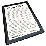 E-Book Reader with Novel on Screen. A modern e-reader device displaying the first page of a novel Royalty Free Stock Photo