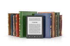 E-book reader with stack of the book. On a white background Royalty Free Stock Image