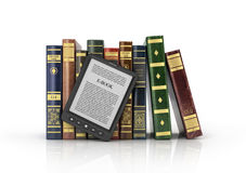 E-book reader with stack of the book. On a white background Royalty Free Stock Images