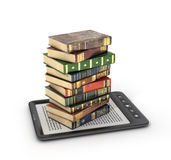 E-book reader with stack of the book. On a white background Stock Photo