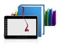 E-book reader with stack of books on white. Vector illustration Royalty Free Stock Image