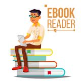 E-Book Reader Vector. Man. Contemporary Education. Stack Of Books. Traditional Textbook VS Ebook. Isolated Flat Cartoon stock illustration