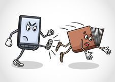 The e-book replaced the paper folio. The future belongs to electronic devices. The e-book tablet replaced the paper folio royalty free illustration