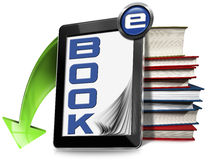 E-Book Symbol with Tablet and Books Stock Photo