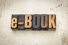 E-book word in wood type Royalty Free Stock Photo