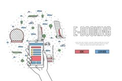 E-booking poster in linear style. E-booking poster with Abu Dhabi famous architectural landmarks in linear style. Online tickets ordering, mobile payment vector Stock Image
