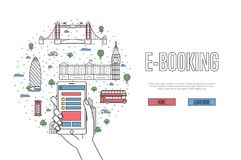 E-booking poster in linear style. E-booking poster with british famous architectural landmarks in linear style. Online tickets ordering, mobile payment concept Royalty Free Stock Photography