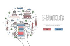 E-booking poster in linear style. E-booking poster with chinese famous architectural landmarks in linear style. Online tickets ordering, mobile payment vector Stock Photos