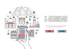 E-booking poster in linear style. E-booking poster with egyptian famous architectural landmarks in linear style. Online tickets ordering, mobile payment vector Royalty Free Stock Photo