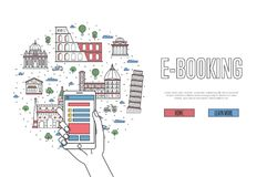 E-booking poster in linear style. E-booking poster with italian famous architectural landmarks in linear style. Online tickets ordering, mobile payment concept Royalty Free Stock Images
