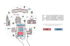 E-booking poster in linear style. E-booking poster with venetian famous architectural landmarks in linear style. Online tickets ordering, mobile payment concept Stock Photography