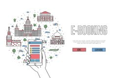 E-booking poster in linear style. E-booking poster with moscow famous architectural landmarks in linear style. Online tickets ordering, mobile payment vector Stock Photos