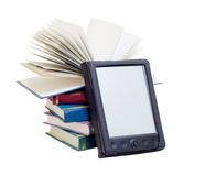 E-books. One e-book with many books isolated on white background Royalty Free Stock Image
