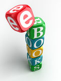 E-books 3d colorful cube tower Stock Images