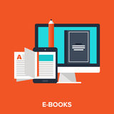 E-books. Abstract vector illustration of e-books flat design concept Stock Photos