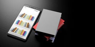 E books concept. Books on shelves on a smartphone screen and books on black background, banner, copy space. 3d illustration. E learning concept. Books on shelves Royalty Free Stock Photo