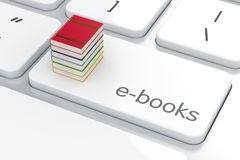 E-books concept. Computer keyboard white button with books stack. E-books concept.  3d rendering Stock Photo